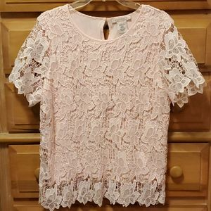 NWOT Philosophy pink lace top